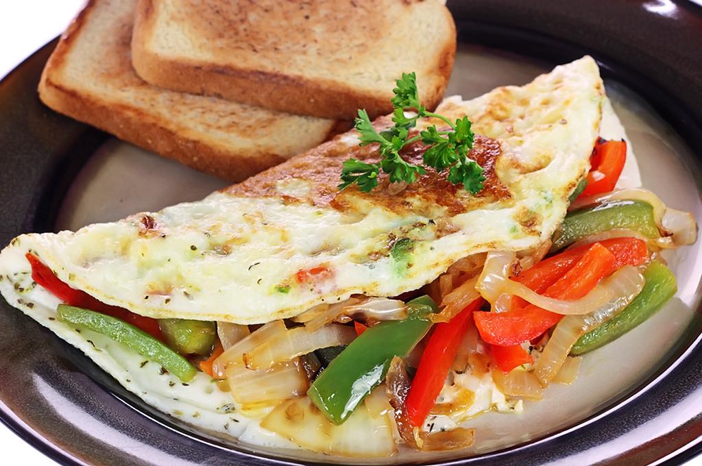 omelette con chiles morrones