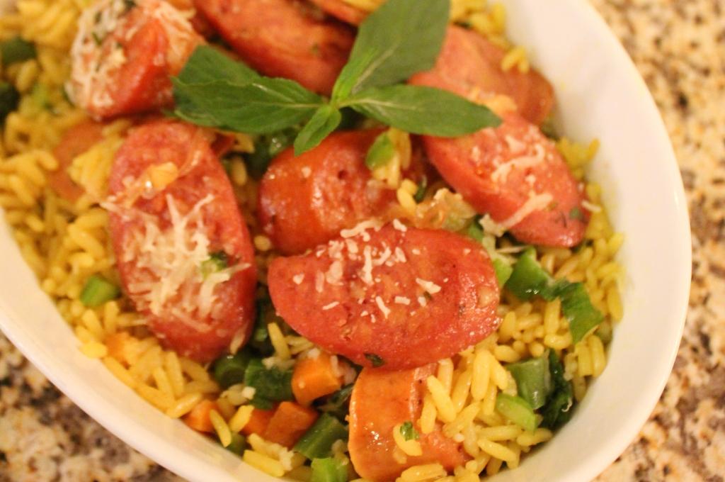 arroz relleno con chorizo