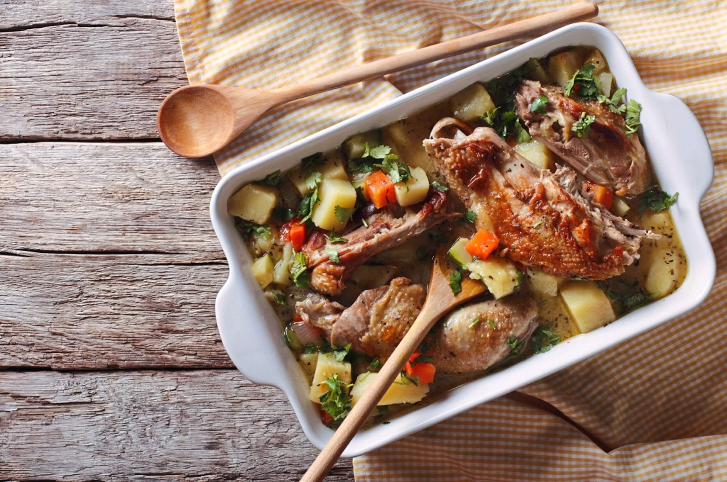 pollo horneado con vegetales